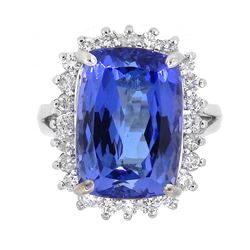Platinum 8.27ct Tanzanite and Diamond Ring