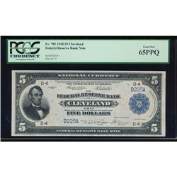 1918 $5 Cleveland Federal Reserve Bank Note PCGS 65PPQ