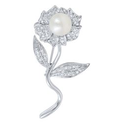 14KT White Gold Pearl and Diamond Brooch