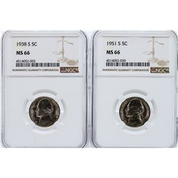 1938 and 1951 Jefferson Nickels NGC MS66
