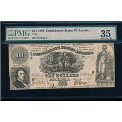 1861 $10 Confederate States of America Note PMG 35