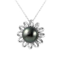 14KT White Gold 14.27ct Pearl and Diamond Pendant with Chain