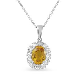 14KT White Gold 1.63ct Yellow Sapphire and Diamond Pendant with Chain