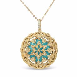 14KT Yellow Gold 5.46ct Turquoise and Diamond Pendant with Chain