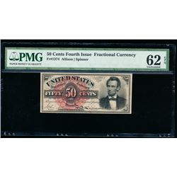 50 Cent Fourth Issue Lincoln Fractional Note PMG 62EPQ
