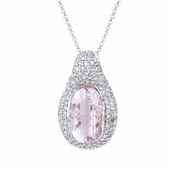 14KT White Gold 7.11ct Amethyst and Diamond Pendant with Chain
