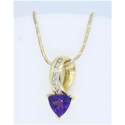 14K Yellow Gold Amethyst and Diamond Pendant with Chain