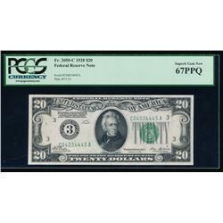 1928 $20 Philadelphia Federal Reserve Note PCGS 67PPQ