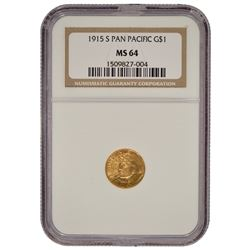 1915-S $1 Pan Pacific Gold Coin NGC MS64