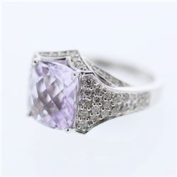 14KT White Gold 3.76ct Amethyst and Diamond Ring
