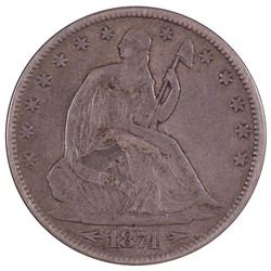 1874 Seated Liberty Half Dollar Coin