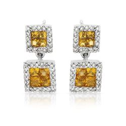 14KT White Gold 1.05ctw Yellow Sapphire and Diamond Earrings