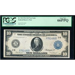 1914 $10 New York Federal Reserve Note PCGS 66PPQ