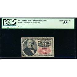 25 Cent Fifth Issue Fractional Note No Serial Number PCGS 58