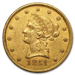 1851 $10 Liberty Head Gold Coin