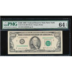 1988 $100 New York Federal Reserve Note PMG 64EPQ