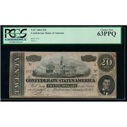 1864 $20 Confederate States of America Note PCGS 63PPQ