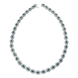 14KT White Gold 6.74ctw Emerald and Diamond Necklace