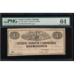 1863 $1 North Carolina Obsolete Note PMG 64