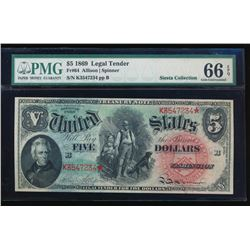 1869 $5 Legal Tender Note PMG 66EPQ