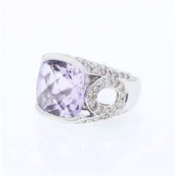 14KT White Gold 8.24ct Amethyst and Diamond Ring