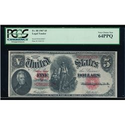 1907 $5 Legal Tender Note PCGS 64PPQ