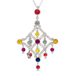 18KT White Gold 3.17ctw Multi Color Sapphire and Diamond Pendant with Chain
