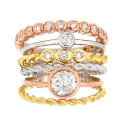 14KT Tri Color Gold 1.28ctw Diamond Ring