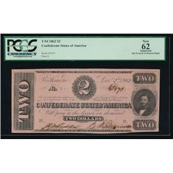 1862 $2 Confederate States of America Note PCGS 62