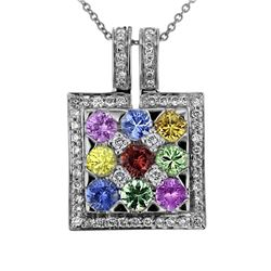 18KT White Gold 2.84ctw Multi Color Sapphire and Diamond Pendant with Chain