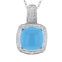 14KT White Gold 9.91ct Turquoise and Diamond Pendant with Chain