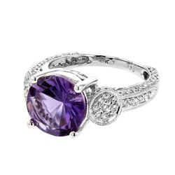 18KT White Gold 3.20ct Amethyst and Diamond Ring