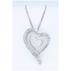 14K White Gold 0.75ctw Diamond Pendant with Chain