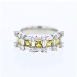 14KT White Gold 1.06ctw Yellow Sapphire and Diamond Ring