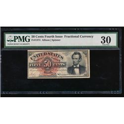 1864 Fractional 50 Cent Fourth Issue Note PMG 30
