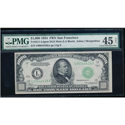 1934 $1000 San Francisco Federal Reserve Note PMG 45NET