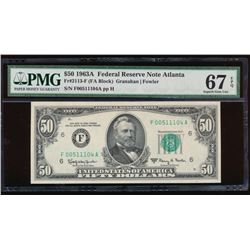 1963A $50 Atlanta Federal Reserve Note PMG 67EPQ