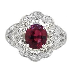 Platinum 1.84ct Tourmaline and Diamond Ring