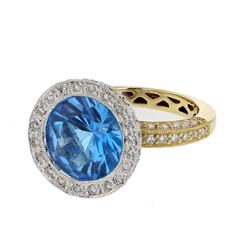 18KT Two Tone Gold 4.25ct Blue Topaz and Diamond Ring