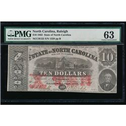 1883 $10 North Carolina Obsolete Note PMG 63