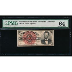 50 Cent Fourth Issue Lincoln Fractional Note No Serial Number PMG 64