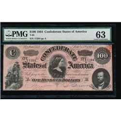 1864 $100 Confederate States of American Note PMG 63