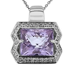 14KT White Gold 6.85ct Amethyst and Diamond Pendant with Chain