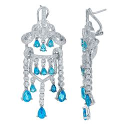 14KT White Gold 5.12ctw Blue Topaz and Diamond Earrings