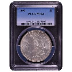 1890 $1 Morgan Silver Dollar Coin PCGS MS64