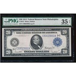 1914 $20 Philadelphia Federal Reserve Note PMG 35EPQ