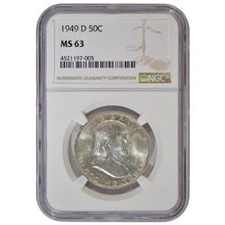 1949-D Franklin Half Dollar Coin NGC MS63