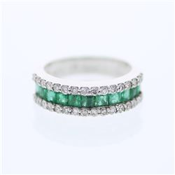 18KT White Gold 1.19ctw Emerald and Diamond Ring