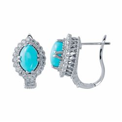 14KT White Gold 4.12ctw Turquoise and Diamond Earrings