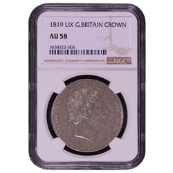 1819 LIX Great Britain Crown Coin NGC AU58